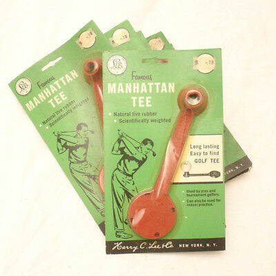 "6 Vintage 40's ""Manhattan"" GOLF TEE Rubber Reusable in Packages,Deadstock,NOS"