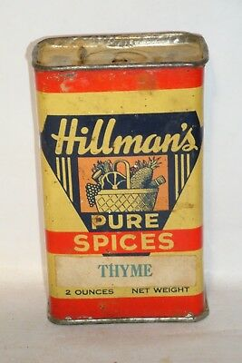 Nice Old Tin Litho Hillman's Brand Thyme Advertising Spice Tin Can