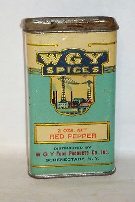 Nice Old Tin Litho WGY Brand Red Pepper Advertising Spice Tin Can