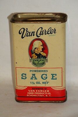 Nice Old Tin Litho Van Curler Brand Sage Advertising Spice Tin Can