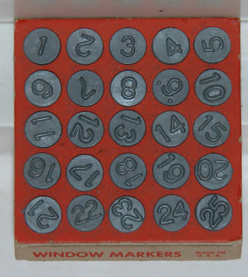 1948 Set of ACRO Numbering Tacks -  Window Markers 1-25 - New Old Stock