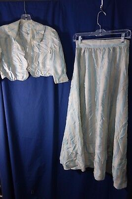 1900's Silk Suit (Jacket & Skirt) - Small- Blue/Cream Stripes- VG-BEAUTIFUL-SALE