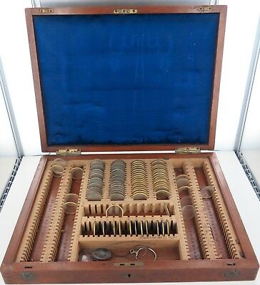 Antique Travelling Opticians Optometrist Wooden Case, Over 200 Slots + Lenses