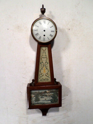 Herschede Banjo Clock Case--Eight Day Lever Clock Case With Label On Reverse
