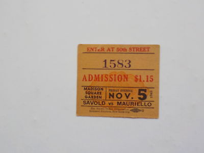 Boxing Ticket LEE SAVOLD vs TAMI MAURIELLO 1943 Both Fought Joe Louis Boxers 43
