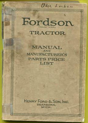 Vtg Fordson Farm Tractor Manual/Parts Price List 1917