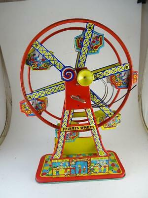 Vintage Tin Wind Up Hercules Ferris Wheel Toy J. Chien & Co Model Retro Litho