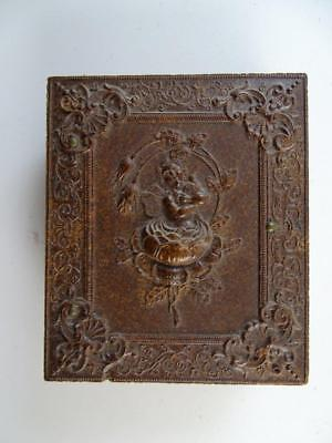 Antique Daguerreotype Union Case Photograph Copper Bezel Flower Embossed Brown