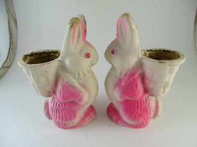 Vintage Papier Mache Air Brushed Bunny Rabbit Candy Container Holder Easter x2