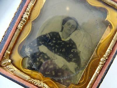 Antique Daguerreotype Tintype Post Mortem Young Woman Death Dead Vintage 1870s