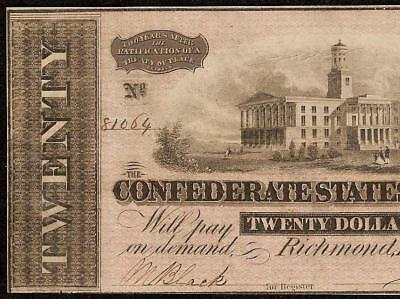 1864 $20 Dollar Bill Signed Black & White Confederate Currency Civil War Note