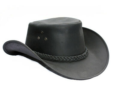 M Horse Western Cowboy Indiana Jones Crushable  Oiled LEATHER Outback Hat 24H04