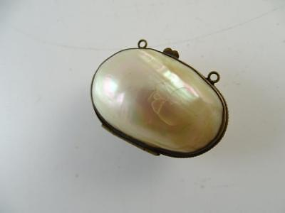 Antique Mother Of Pearl Shell Brass Sewing Thimble Purse Coin Holder Victorian