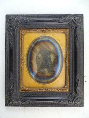 Antique 1844 Daguerreotype Photograph Photo Racine WI Family Wedding Frame Vtg