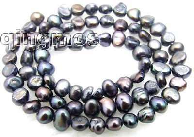 """Small 4-5mm Natural Black Freshwater BAROQUE Pearl Loose Beads 14""""-los456"""