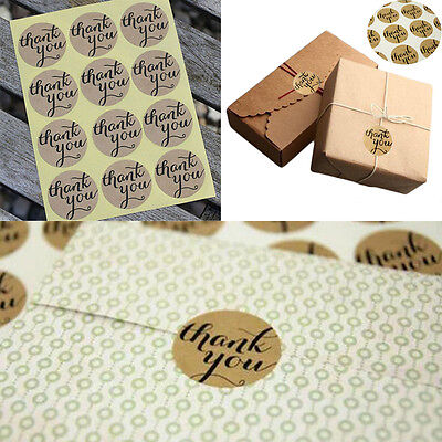 "120Pcs ""Thank You"" Craft Packaging Seals Kraft Sealing Sticker Label Paper"