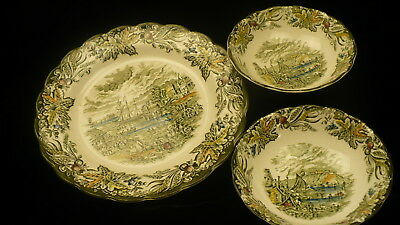 Citadel of Kingston Ridgway Heritage transfer ware soup bowl X2 dinner plate 10""