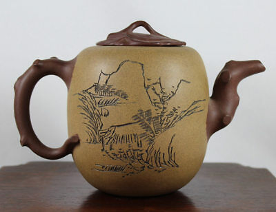 Antique Chinese Yixing  Pottery Teapot, Incised  Calligraphy, Signed