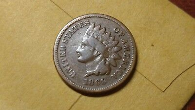1869 Indian Head Cent Problem Free Good - Better Date!!
