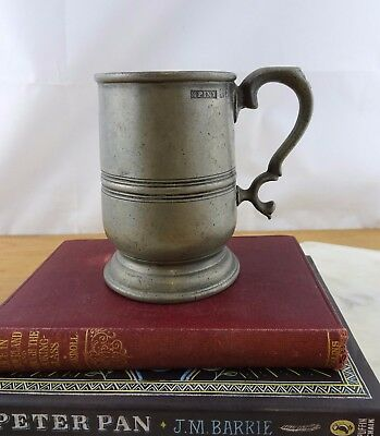 Antique Vintage Pewter Cup, 1 Pint Tankard, Paul Fisher London 1800's