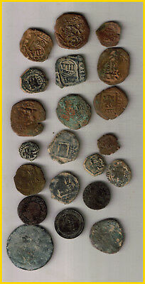 LOT  22 SPANISH COLONIAL PIRATE TREASURE COINS (b) CENTURIES XVI-XVII-XVIII-
