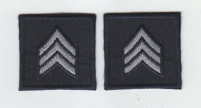 2 Police/Sheriff SGT Sergeant Chevron SILVER/MIDNIGHT collar patches NEW ENGLAND