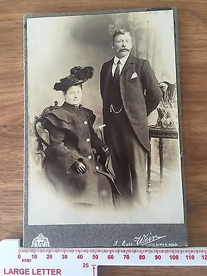 Single Victorian Cabinet Photo of a Gentleman & Lady by Weir card cut at bottom