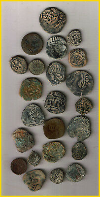 LOT  23 SPANISH COLONIAL PIRATE TREASURE COINS (a) CENTURIES XVI-XVII-XVIII-
