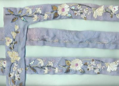 Vintage Sequins Glass Beaded Hand Embroidery  4 Yard Floral Lace Trim Ribbon