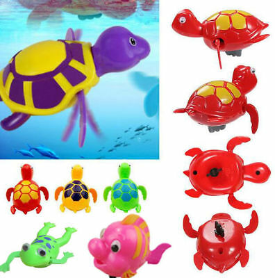 3pcs Baby Kids Plastic Bath Swimming Play Wind-up Frog Fish Turtle Water Toy UK