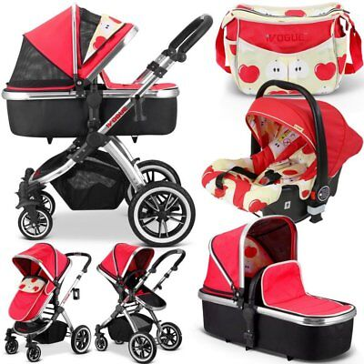 iVogue - Apple Luxury 3in1 Pram Stroller Travel System By iSafe