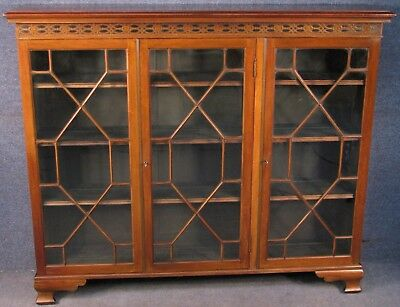 Edwardian Mahogany 3 Door Astragal Glazed Bookcase / Cabinet