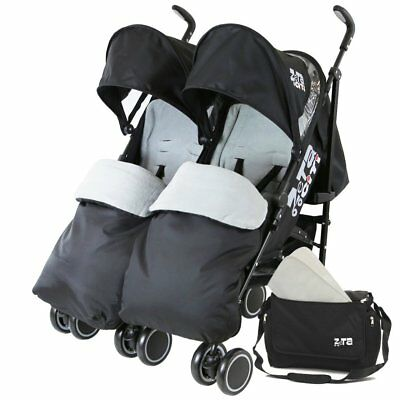 Zeta Citi TWIN Stroller Buggy Pushchair - Black Double Stroller Complete With Fo