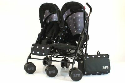 Zeta Twin Pushchair Complete Package (Black Dots) Complete With Footmuff & Headh