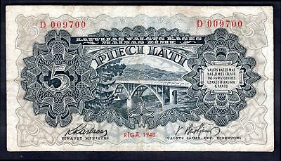 Latvia: Government Exchange Note, Five latu, 1940, D 009700, (Pick 34a), F-VF.