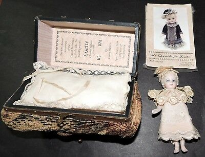 """Cathy Hansen Lisette Doll Glass Eyes Miniature Jointed 4""""Hand Painted All Bisque"""