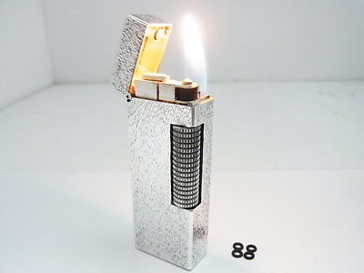 DUNHILL Rollagas Lighter Silver Gas leaks Auth Swiss W/4p O-rings