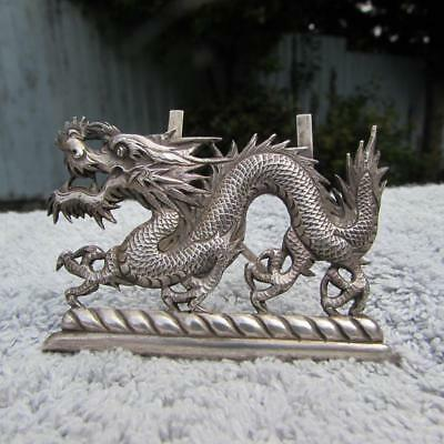 Antique 19thC Wang Hing Chinese Silver Menu Holder Dragon Circa 1890