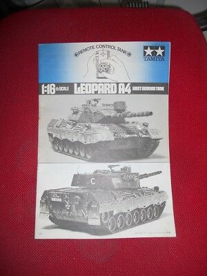 Tamiya Leopard A4 german tank instruction manual original