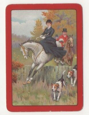 Playing Swap Cards 1 Old English Wide Lady Jumping Horses & Hounds Red