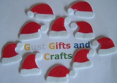 10 x Mini Santa Hat stickers - Christmas crafts and card making