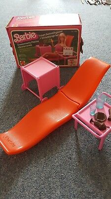 vintage 1980 Barbie dream pool collection patio recliner