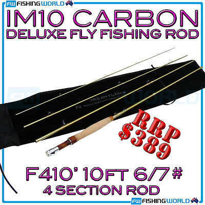 F410' IM10 HIGH MODULUS CARBON 10ft 6/7# DELUXE FLY FISHING ROD