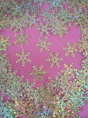 200 Holographic Snowflake Sequins in pale gold, 2cm - Christmas cards + crafts