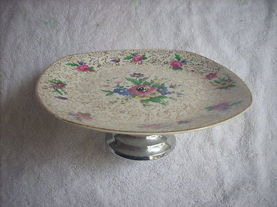 Midwinter Stylecraft Floral Cake Plate On A Metal Stand
