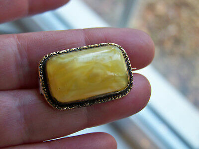 c1880 ANTIQUE VICTORIAN JEWELLERY STUNNING LEMON AGATE PINCHBECK BROOCH LACE PIN