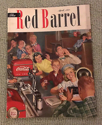 Vintage April 1950 The Red Barrel Coca-Cola Magazine Students at Soda Fountain