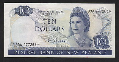 New Zealand P-166b (1968-75) 10 Dollar - STAR Note.. Wilks.. 99A Prefix.. gVF