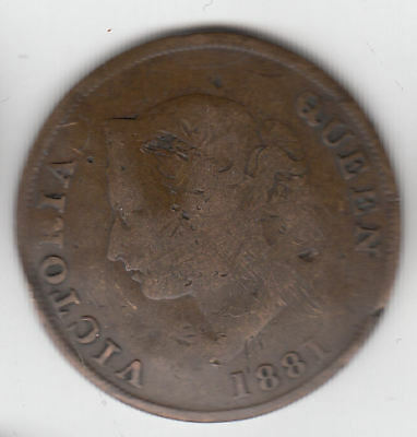 Cyprus 1/2 Piastre 1881 Copper         40A        By Coinmountain