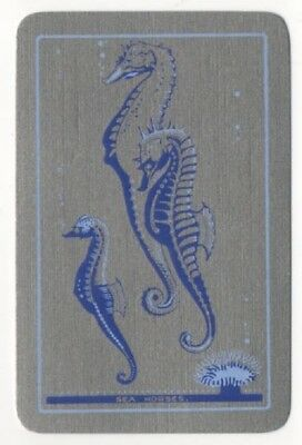 Playing Swap Cards 1 Vintage English Named Sea Horses Rare Colour